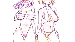 Rating: Questionable Score: 0 Tags: 2girls bikini blush breasts cameltoe covered_nipples dvach-tan idleantics_(artist) multiple_girls orange_hair purple_hair simple_background smile sunglasses swimsuit thigh_gap tongue unyl-chan User: (automatic)Anonymous