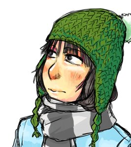 Rating: Safe Score: 0 Tags: black_eyes black_hair blush bomb-kun_(artist) character_request hat scarf simple_background striped tagme winter_clothes User: (automatic)nanodesu