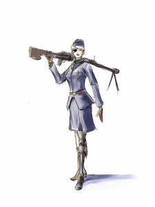 Rating: Safe Score: 0 Tags: belt blonde_hair cyborg eye_patch garrison_cap hat jacket military_uniform sci-fi short_hair simple_background skirt weapon User: (automatic)nanodesu