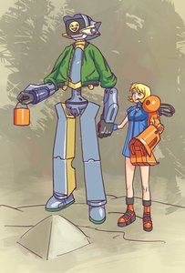 Rating: Safe Score: 0 Tags: alternate_costume awesome blonde_hair blue_eyes boots bucket canti co2_(artist) co_(artist) crossover dress excavator_bucket excavator-chan flcl holding_hands robot short_hair smile User: (automatic)nanodesu