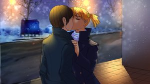 Rating: Safe Score: 0 Tags: brown_hair city closed_eyes coat couple dvach-tan eroge highres kiss lamppost male night orange_hair outdoors semyon_(character) short_hair smolev_(artist) street twintails wallpaper winter User: (automatic)Anonymous