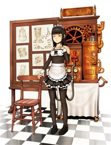 Rating: Safe Score: 0 Tags: android apron black_hair maid maid_headdress maid_outfit robot steampunk thighhighs vvcephei_(artist) yellow_eyes zettai_ryouiki User: (automatic)nanodesu