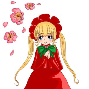 Rating: Safe Score: 0 Tags: blonde_hair blue_eyes blush bow flower headdress long_hair /o/ oekaki petals rozen_maiden shinku twintails User: (automatic)nanodesu