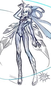 Rating: Safe Score: 0 Tags: 1girl alternate_costume alternative arm_up bayonetta bodysuit cirno long_legs parody ribbon simple_background smile solo style_parody tall touhou wings User: (automatic)Anonymous