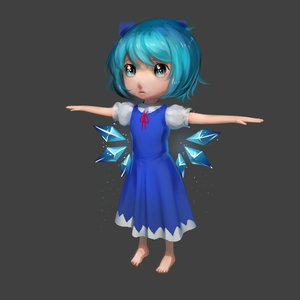 Rating: Safe Score: 0 Tags: 1girl 3d barefoot blue_eyes blue_hair bow cirno dress grey_background has_child_posts short_hair simple_background solo spread_arms touhou wings User: (automatic)Anonymous