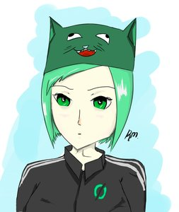 Rating: Safe Score: 0 Tags: 0chsu 1girl green_eyes green_hair hat null-chan rkun_(artist) short_hair solo User: (automatic)rkun