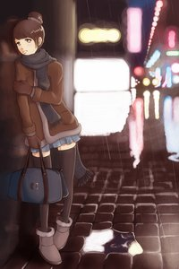 Rating: Safe Score: 0 Tags: /an/ bag black_legwear brown_eyes brown_hair bun city cityscape highres mittens night outdoors puddle scarf skirt street thighhighs zettai_ryouiki User: (automatic)nanodesu