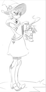 Rating: Safe Score: 0 Tags: 1girl ascot boots glasses hat little_witch_academia lotte_yanson mage potion short_hair simple_background sketch skull skull_lantern white_background witch_hat User: (automatic)Willyfox