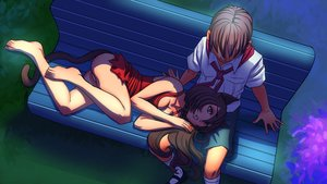 Rating: Questionable Score: 0 Tags: animal_ears bench braid breasts brown_hair cat_ears cleavage dress eroge from_above game_cg highres lap_pillow long_hair male necktie orange_eyes outdoors panties pioneer pioneer_necktie pioneer_uniform semyon_(character) shirt short_hair shorts sitting socks uvao-chan User: (automatic)Anonymous