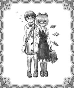Rating: Safe Score: 0 Tags: 2girls blush bow cirno crossover hug iwakura_lain monochrome serial_experiments_lain short_hair touhou wings User: (automatic)nanodesu