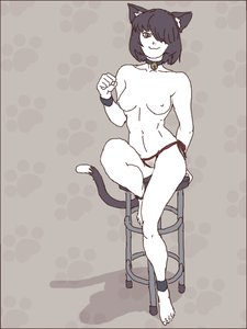 Rating: Questionable Score: 0 Tags: 1girl animal_ears bare_legs bell black_hair breasts cat_eats cat_paws fist pants pubic_hair pussy shadow short_hair sitting smile stool tail topless User: (automatic)Willyfox