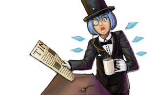 Rating: Safe Score: 0 Tags: alternative_outfit blue_eyes blue_hair cirno cup gloves hat newspaper pipe short_hair surprised top_hat touhou wings User: (automatic)nanodesu