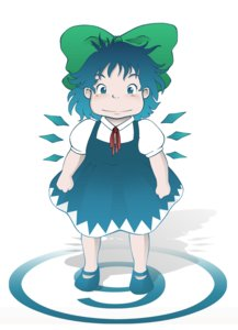 Rating: Safe Score: 0 Tags: ⑨ blue_hair blush bow chubby cirno dress ghibli parody short_hair simple_background smile style_parody touhou wings User: (automatic)nanodesu