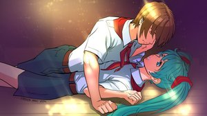 Rating: Safe Score: 0 Tags: aqua_hair brown_hair eroge floor hatsune_miku hatsune_miku_(eroge) light long_hair lying lying_on_person male necktie pioneer pioneer_necktie pioneer_uniform semyon_(character) shirt short_hair skirt smolev_(artist) twintails very_long_hair vocaloid User: (automatic)Anonymous