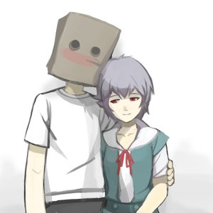 Rating: Safe Score: 0 Tags: 2-ch.ru anonymous ayanami_rei bag_on_head blush bow crossover heartwarming hug neon_genesis_evangelion purple_hair red_eyes ribbon school_uniform shirt short_hair simple_background smile t-shirt User: (automatic)nanodesu