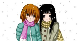 Rating: Safe Score: 0 Tags: 2girls akiyama_mio black_eyes black_hair brown_eyes brown_hair hirasawa_yui k-on! scarf sketch snow winter winter_clothes User: (automatic)nanodesu
