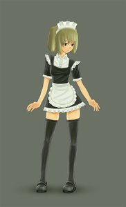 Rating: Safe Score: 0 Tags: apron black_legwear blonde_hair brown_eyes dress frills has_child_posts maid maid_headdress maid_outfit simple_background thighhighs twintails zettai_ryouiki User: (automatic)nanodesu