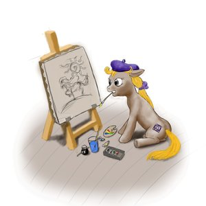 Rating: Safe Score: 0 Tags: animal /bro/ brush fim hat highres madskillz mlp mlp:fim my_little_pony no_humans painting pony simple_background sitting User: (automatic)Anonymous