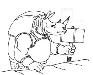 Rating: Safe Score: 0 Tags: anthro armor castle champion_of_tzeentch_(artist) gauntlets hammer horn monochrome no_humans rhinoceros simple_background sketch wall User: (automatic)Willyfox