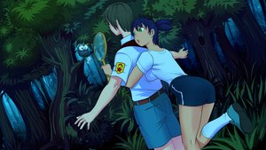 Rating: Safe Score: 0 Tags: badminton bird breasts brown_hair dutch_angle eroge forest game_cg green_eyes gym_uniform has_child_posts highres male nature necktie night outdoors owl pants pioneer pioneer_tie pioneer_uniform purple_hair racket scared semyon_(character) shirt short_hair shorts spread_arms tree t-shirt twintails unyl-chan User: (automatic)Anonymous
