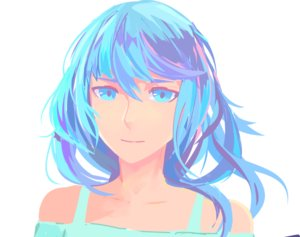 Rating: Safe Score: 0 Tags: 1girl arsenixc_(artist) bare_shoulders blue_eyes blue_hair long_hair portrait simple_background smile solo User: (automatic)Anonymous