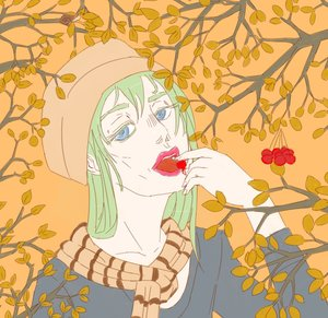 Rating: Safe Score: 0 Tags: autumn berry blue_eyes eating green_hair hat lips long_hair open_mouth scarf tree User: (automatic)Anonymous