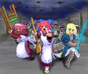 Rating: Safe Score: 1 Tags: apron blonde_hair bow broom chair crossover crowd dress fate/stay_night green_eyes hisui kohaku madskillz maid maid_headdress maid_outfit night /o/ oekaki pink_hair robot running saber short_hair sword tagme tsukihime weapon User: (automatic)nanodesu