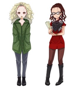 Rating: Safe Score: 0 Tags: 2girls blonde_hair brown_eyes brown_hair curly_hair dreadlocks glasses mouth_hold orphan_black pantyhose User: (automatic)Anonymous