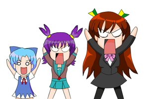 Rating: Safe Score: 0 Tags: 0_0 alternate_costume azumanga_daiou banhammer-tan black_legwear blazer blue_hair bow brown_hair cardigan cirno highres long_hair multiple_girls necktie o/ open_mouth pantyhose parody purple_hair school_uniform short_hair skirt style_parody touhou twintails unyl-chan User: (automatic)timewaitsfornoone