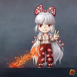 Rating: Safe Score: 0 Tags: 1girl bow chibi fire fujiwara_no_mokou long_hair pants red_eyes shirt silver_hair solo suspenders sword /to/ touhou v very_long_hair weapon User: (automatic)Anonymous
