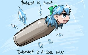 Rating: Safe Score: 0 Tags: binary blue_eyes blue_hair bow bullet cirno f2d_(artist) pun short_hair sky too_literal touhou wings User: (automatic)nanodesu