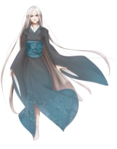 Rating: Safe Score: 0 Tags: 1girl blue_eyes japanese_clothes kimono long_hair silver_hair simple_background smile solo tabi traditional_clothes very_long_hair wind User: (automatic)Anonymous