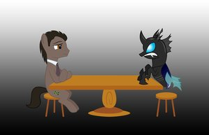 Rating: Safe Score: 0 Tags: animal /bro/ changeling crossover fim horns mlp mlp:fim my_little_pony no_humans pony ponyfication simple_background sitting stallion style_parody table tagme wings User: (automatic)Anonymous