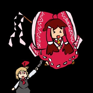 Rating: Safe Score: 0 Tags: >_< blonde_hair brown_hair chibi hair_tubes hakurei_reimu red_eyes rumia simple_background /to/ touhou User: (automatic)nanodesu