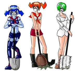 Rating: Safe Score: 0 Tags: 0chan.ru blue_hair blue_skin cosplay creepy-chan crop_top dvach-tan face_paint green_hair hairpin labcoat makeup multiple_girls necktie null-sama orange_hair pioneer_necktie short_hair shovel simple_background skirt tagme /tan/ twintails User: (automatic)nanodesu