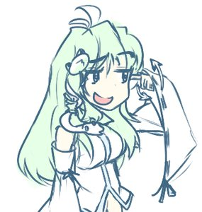 Rating: Safe Score: 0 Tags: ahoge detached_sleeves green_hair hair_ornament hater_(artist) kochiya_sanae long_hair lowres sketch smile /to/ touhou User: (automatic)Anonymous
