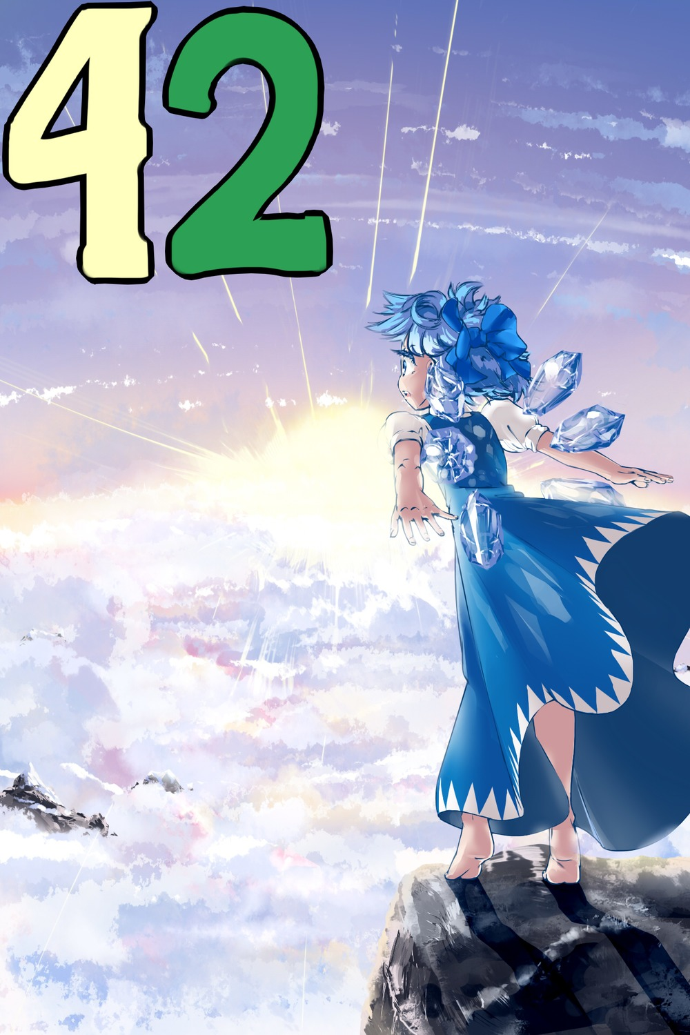 blue_eyes blue_hair bow cirno cloud f2d_(artist) feet ice madskillz_thread_oppic mountains rays short_hair snow sun wings