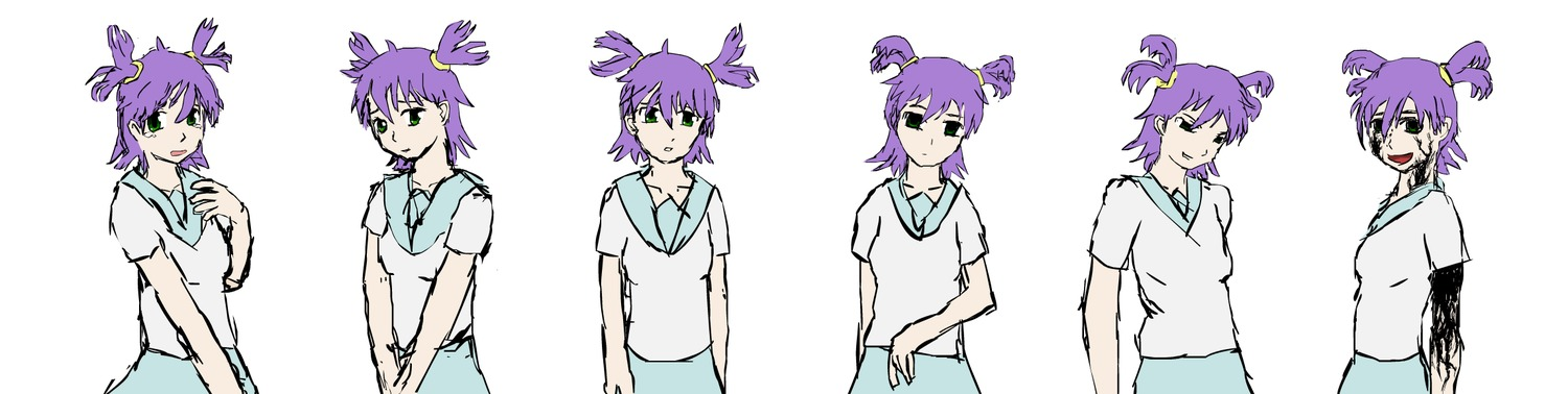 corruption green_eyes purple_hair school_uniform short_twintails simple_background twintails unyl-chan white_background
