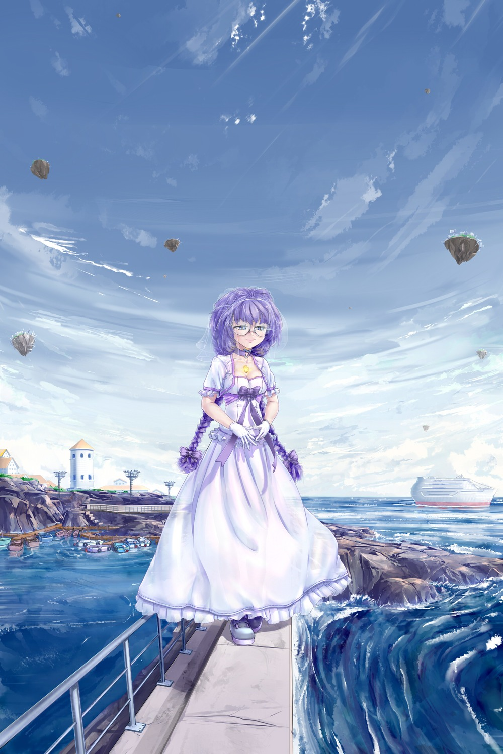 1girl blue_eyes boat bow braid breasts building choker cleavage dress elemental_gelade f2d_(artist) floating_island frills glasses gloves heart highres long_hair ocean outdoors pier purple_hair rock sea see-through ship sky smile solo twin_braids veil viro virzoeve_eclairouer water