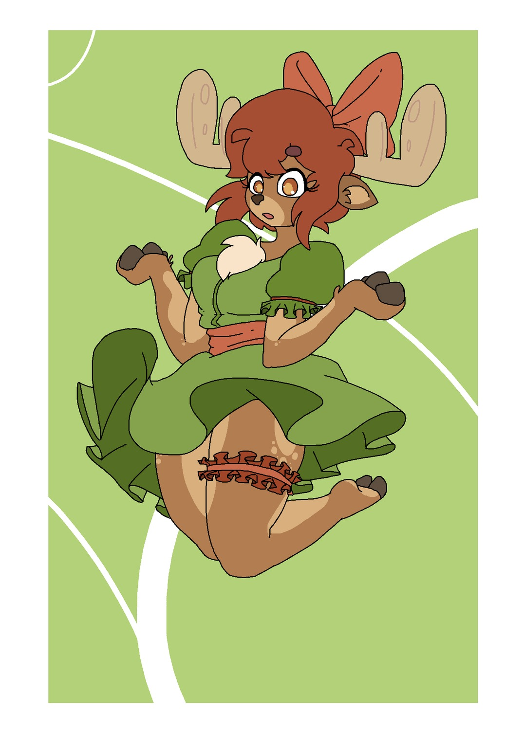 1girl anthro bow breasts brown_eyes brown_hair dress elk furry green green_background hoofs horns jump open_mouth short_hair skirt_lift solo