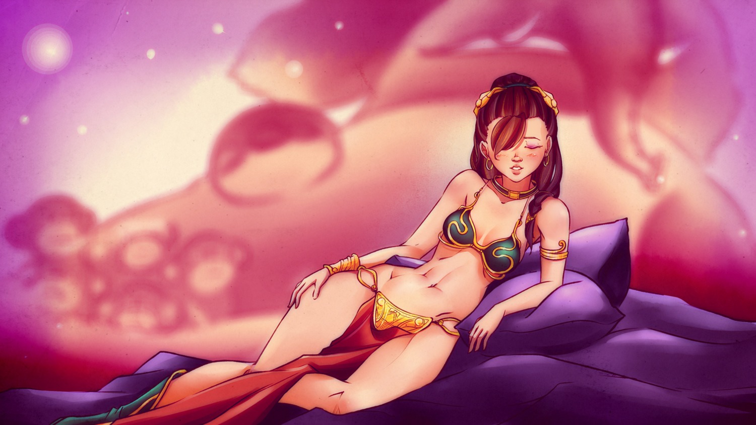1girl armlet bikini bikini_top blush boots bracelet braid breasts brown_hair closed_eyes collar cosplay crossover earrings hair_over_one_eye highres idleantics_(artist) jewelry long_hair lying navel pillow ponytail princess_leia princess_leia_organa_solo solo star_wars the_monkeys_series wallpaper